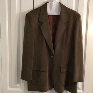 Jones New York size 12 100% silk olive jacket